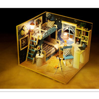Wholesale Free House Furniture - Star Dream Wooden Doll House with Furniture, Handmade DIY Dollhouse Miniature Toys for Children's Birthday Gift Free Shipping