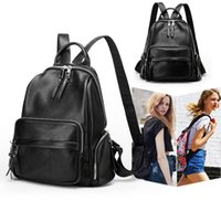 Wholesale Leather Backpack Camping - Fashion Black PU Leather Zippe Backpack Travel Softback Bag School Bags Female Ladies Girls Gift Free DHL G150L
