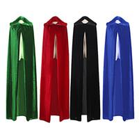 ingrosso costumi da strega di halloween adulto-Adulto strega lungo viola verde rosso nero blu Halloween mantello cappuccio e mantello costumi di Halloween cosplay