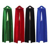 yetişkin cadılar bayramı cadı kostümleri toptan satış-Yetişkin Cadı Uzun Mor Yeşil Kırmızı Siyah mavi Cadılar Bayramı Pelerin Hood ve Cape robe Cadılar Bayramı cosplay Kostümleri