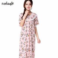 nachthemd weibliche baumwolle großhandel-Fashion New Nachtwäsche Frauen beiläufige lose lange Nachthemd Blumendruck Baumwolle Nachthemden weiblichen Sommer Schlafkleid