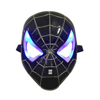 ingrosso spiderman maschera-LED Glowing Light Mask super eroe Spiderman Hulk Iron Man coniglio pieno mezzo maschera per bambini Adulti Natale Halloween Birthday Party regalo
