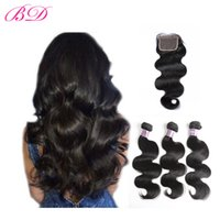 Wholesale Brazilian Cuticle Hair - Hot Sale 100% Malaysian Indian Brazilian Peruvian Silky Body Wave Human Hair Full Cuticle 3 Bundles With Frontal Closure