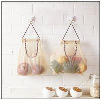 Wholesale garbage bag storage - 26*29cm Reusable Hanging Storage Mesh Bag Vegetable Fruit Garlic Potatoes Onions Garbage Trash Bag Shopping Bags Organizer CCA10062 100pcs