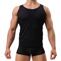 fetisch kleidung männlich großhandel-Mode Coole Männer Tank Tops Atmungsaktiv Für Männer Casual Unterhemden Solide Weste Fetisch Männlichen Kerl Schwarz Sleeveless Kleidung Unterhemd