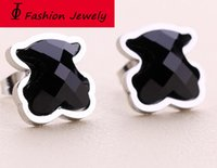 Wholesale Turquoise Earrings For Women - Black natural stone silver plated gold plated stainless steel bear earrings for women Hot Sale New Style Women Fashion brand