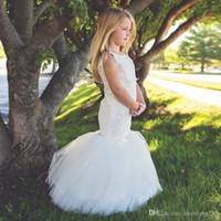 Wholesale custom printed satin ribbon - white ivory cute satin mermaid flower girl dress puffy tulle little bride girls dress for wedding party vestido de daminha