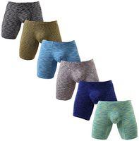 cuecas venda por atacado-Ultra Macio Não Subir Boxer Briefs dos homens Perna Longa Underwear Low Rise Troncos Verão Moderno Novo Fit Boxer Breve KC-NewN518 S-XL