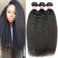 Wholesale natural yaki hair piece - Brazilian Kinky Straight Yaki Human Hair Weave 7A Brazilian Virgin Hair Bundles 3 or 4 Pieces Wavy Hair Extensions Wave Weft Wholesale 1B#