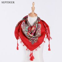 Wholesale fashion russian style - SEPTDEER Hot Sale Russian Folk Style Vintage Embroidery Flower Towel Scarf Fashion Ladies Fringed Shawl ZL006