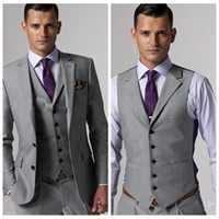 Wholesale three piece wedding suits - 2018 Custom Formal Men Light Grey Side Vent Groom Tuxedos Groomsmen Best Man Wedding Suits Bridegroom Business Wear (Jacket+Pants+Vest+Tie)