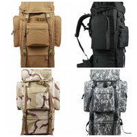 Wholesale Large Military Backpacks - 65L Large Capacity Men Marching Backpack Military Backpack Waterproof Nylon Backpacks Men's Military Waterproof Travel Bag LJJD16