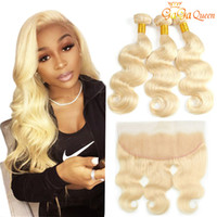 Wholesale 613 lace frontal resale online - 613 Brazilian Body Wave Hair With x13 frontal closure bundles Blonde Human Hair Extensions With Lace Frontal Body Wave