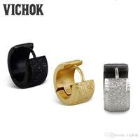 Wholesale Stainless Hoops - Sand Surface Hoop Earrings 316L Stainless Steel Earrings Fashion Jewelry Silver Gold Black Minimalism Style For Men Women VICHOK