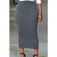 Wholesale ladies gray pencil skirts - women new summer grey high waist empire pure color skirt slim pencil long skirt brand lady casual work office formal elastic skirt