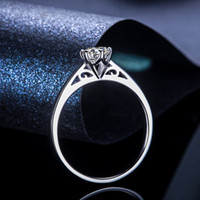 Wholesale princess cut sterling silver ring for sale - Group buy 2018 New Silver Solitaire Wedding Anniversary Engagement Ring Ct Princess Cut Created Diamond