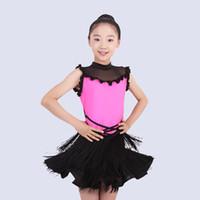 salsa tanzkleider für kinder großhandel-Latin Dance Kleid Sleeveless Quaste Salsa Rumba Cha Cha Kostüme Mädchen Samba Performance Tanzen Tücher Kinder Tanzabnutzung DNV10348
