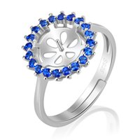 Wholesale cluster rings online - Luxurious Piece Adjustable Sterling Silver Ring Accessories with Round Blue Zircons Pearl Seat Jewelry Making