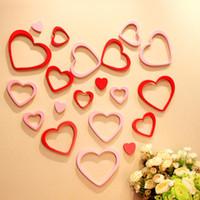 güzel sevgililer günü toptan satış-5 adet 1 takım Için 3D Ahşap Kalp Aşk Şekli Duvar Çıkartmaları Sevgililer Günü Ev Dekorasyon Güzel Paster Yeni 3 6yj Z