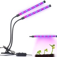 Wholesale Tube Led Light For Plants - Dual Head 36LED Plant Grow Light 18W 2 Dimmable Levels Grow Lamp Bulb with Adjustable 360 Degree Gooseneck for Plants Hydroponics Greenhouse