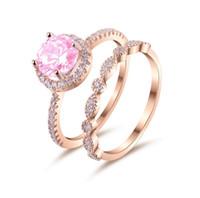 kupfer rosa rose großhandel-2018 ins zarte rosa zirkon diamant doppel ring frauen finger schmuck cz gepflasterte rose gold kupfer material
