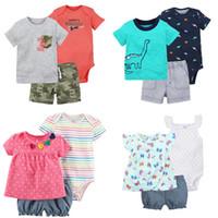 bebek üçlü takım elbise toptan satış-Yeni Bebek Üç parçalı Takım 24 Tasarımlar T-shirt Romper Şort Boy Kız Yaz Pamuk Yenidoğan Bebek için Bebek Giyim Setleri Suits Giysileri