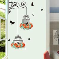çiçek duvar kağıdı bedava toptan satış-Renkli Çiçek Birdcage Duvar Sticker Çıkartmaları Uçan Kuşlar Bitkiler Yapıştırıcı Oturma Odası Duvar Kağıdı Yatak Odası Kreş Pencere Dekor Ücretsiz Kargo