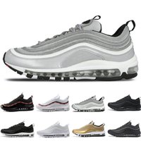 Wholesale low cut shoes for men - Cheap Hot New 97 OG QS Tripel White Black Metallic Gold Silver Bullet PRM WHITE 3M Premium mens Running Shoes for Men Women Free shipping