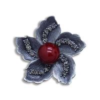 broche flor de cristal preto venda por atacado-Ajojewel Vintage Flor Redbud Elegante Broche RedwhiteGray Simulado-pérola Preto Cristal Rhinestone Jóias Finas Para As Mulheres