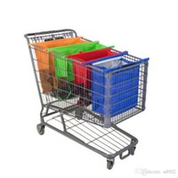 Wholesale plastic tool trolley - 4pcs Non Woven Shopping Bag For Supermarket Trolley Hanging Bags Square Foldable With Handle Storage Pouch High Capacity 28cr ZZ