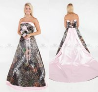 b0dc24fe073 Vintage Strapless 2018 Camo country Wedding Dresses Forest Satin Pink Edged  Lace Up and Removable Train Plus Size realtree Bridal Gowns