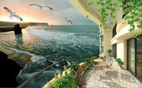 rüya gören deniz toptan satış-Duvar kağıdı 3d Duvar Oturma Odası Için Rüya deniz manzaralı oda 3D stereo HD manzara TV arka plan duvar TV Arka Plan Duvar Duvar Duvar Kağıdı