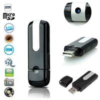 Wholesale mini spy motion detector camera - Mini U8 HD DVR USB DISK HIDDEN Spy Pinhole Camera Motion Detector Video Recorder Hidden USB Flash Drive Motion Detection Spy Nanny Cam HD Vi