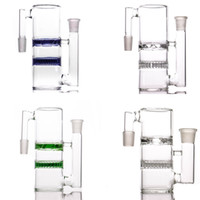 Wholesale turbine bongs - Thick Glass ashcatcher high quality honeycomb and turbine 14-14 18-18 ash catcher for glass bong water pipes