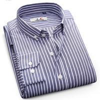 camisa causal do vestuário dos homens venda por atacado-Nova Moda Listrada Camisa Dos Homens Camisas Causal 100% Algodão de Alta qualidade Manga Longa Homens de Negócios Camisa de Vestido