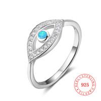 mikro ayar mücevheratı toptan satış-Guangzhou yüksek kalite kadınlar için 925 ayar gümüş nazar yüzük opal zirkon mikro ayar takı toptan