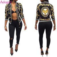 Wholesale ladies jackets online - Adogirl Fashion Print Women Bomber Jacket Long Sleeve Zipper Slim Baseball Outwear High Quality Ladies Spring Autumn Coats Tops