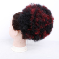 Wholesale drawstring hair ponytails online - Fashion Short Afro Curly Pony Tail Clip in Ponytail Drawstring Synthetic hair Hun Extension Chignon Hairpieces