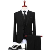 siyah resmi ceket mens toptan satış-Klasik Tasarım Suit Erkekler Siyah Gri Mavi Slim Fit Iş Rahat Erkek Takım Elbise Resmi Örgün Düğün Giyim S-4XL (Ceket + Pantolon + Yelek)