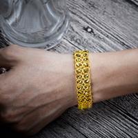 ingrosso braccialetti di fascini dei soldi-Braccialetto di fascino di lusso dorato da uomo Bracciale in lega di rame moneta denaro segno impulso migliore regalo