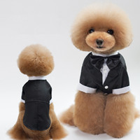 Wholesale new year s suit resale online - S XL England style dog costume fashion pet clothes suit jacket high quanlity teddy poodle coat wedding formal dress dog apparel AAA11558