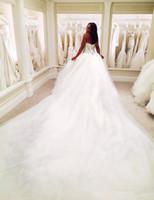 medidor de organza de la boda al por mayor-Puffy 2018 Dubai Nigerian Rhinestones Tulle 3 METROS Vestidos de novia Plus Size Bodice Con cordones Back Beaded Cristales Formal Vestidos de novia