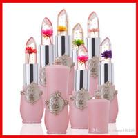 flower jelly lipstick achat en gros de-Nouveau Hydratant Durable Transparent Fleur Rouge À Lèvres Cosmétiques Étanche Température Changement Couleur Jelly Lipstick Baume