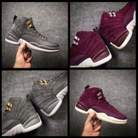Wholesale wine red boots - 2018 New 12 Bordeaux Wine Red Basketball Shoes Men Women 12S Dark Grey Wine Red Purple Suede mens designer shoes Sports Trainers Boots