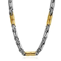 тяжелая цепь ожерелья для мужчин оптовых-20 inch Two Tones Gold Black Titanium Stainless Steel Necklace Box Chain Heavy Link Byzantine Chain Necklaces Men Gift Jewelry