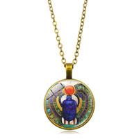 ingrosso gioielleria egiziana-1pcs collana rotonda del pendente del pendente del burattino di vetro della cupola di vetro rotonda all'ingrosso, monili antichi dell'Egitto, collana dell'Egitto