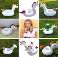 Wholesale inflatables products - New Inflatable Flamingo Drinks Cup Drink Holder Floating Pool Bar Coasters Floatation Devices Children Bath Toy Home Garden product I208