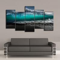 playa pintura al óleo enmarcada al por mayor-Mar Playa Paisaje marino 5 Piezas Impresiones de la lona Arte de la pared Pintura al óleo Decoración para el hogar / (Sin marco / Enmarcado)