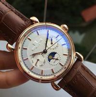 relógio mecânico moonphase venda por atacado-Moonphase de Couro marrom Moda Mens Mecânica Mens Aço Inoxidável designer de Relógio Automático Esportes Auto-vento Relógios Relógio De Pulso