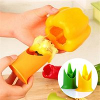 Wholesale tomato seeds wholesale - Creative Pepper Corer Slicer Pepper Seeded Remover Device Tomato Coring Device Fruit Vegetable Cutter Random Color 2Pcs set BBA331